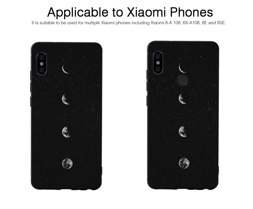 Soft Silicone Phone Case for Xiaomi 8, Color-Painted Moon Change Pattern Xiaomi 6X Phone Case 5