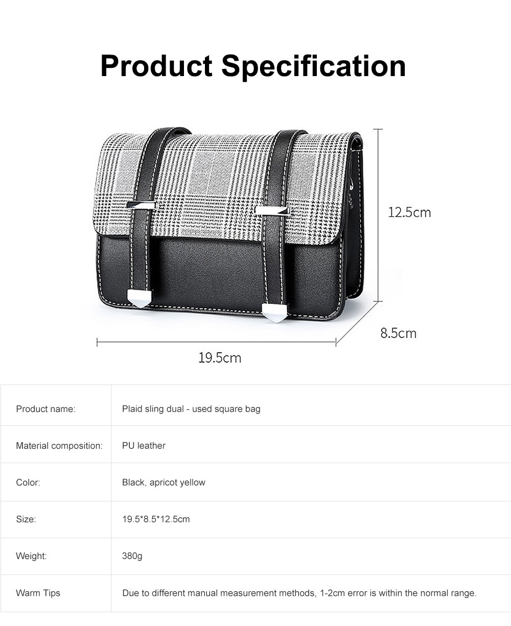 2019 British Style Women Shoulder Bag Crossbody Plaid Sling Dual Used Bag, Euramerican Fashion Contracted Square Bag 6