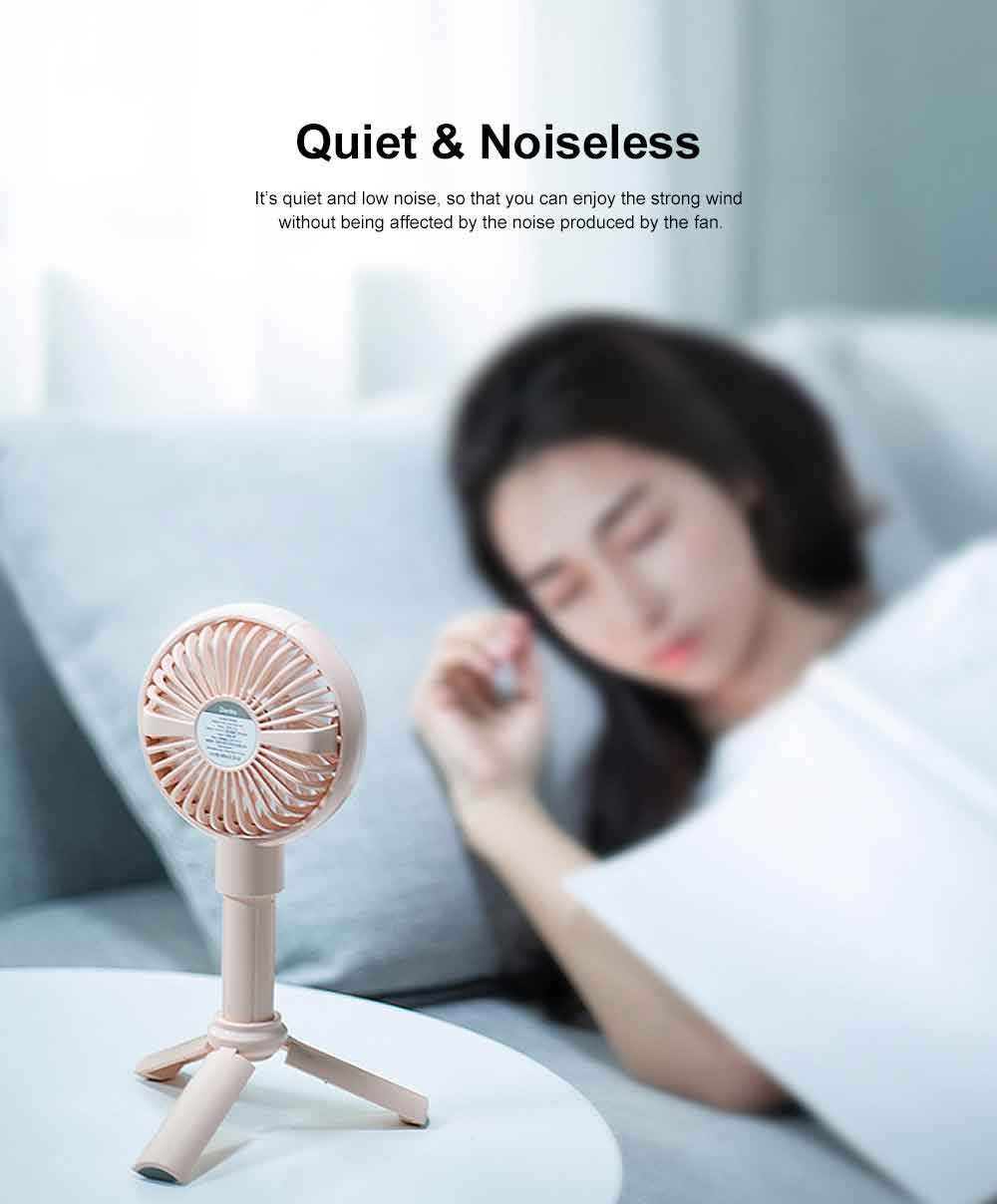 Mini Portable Hand-held Folding Fan, USB Rechargeable Noiseless Fan with Phone Stand for Office & Household 4