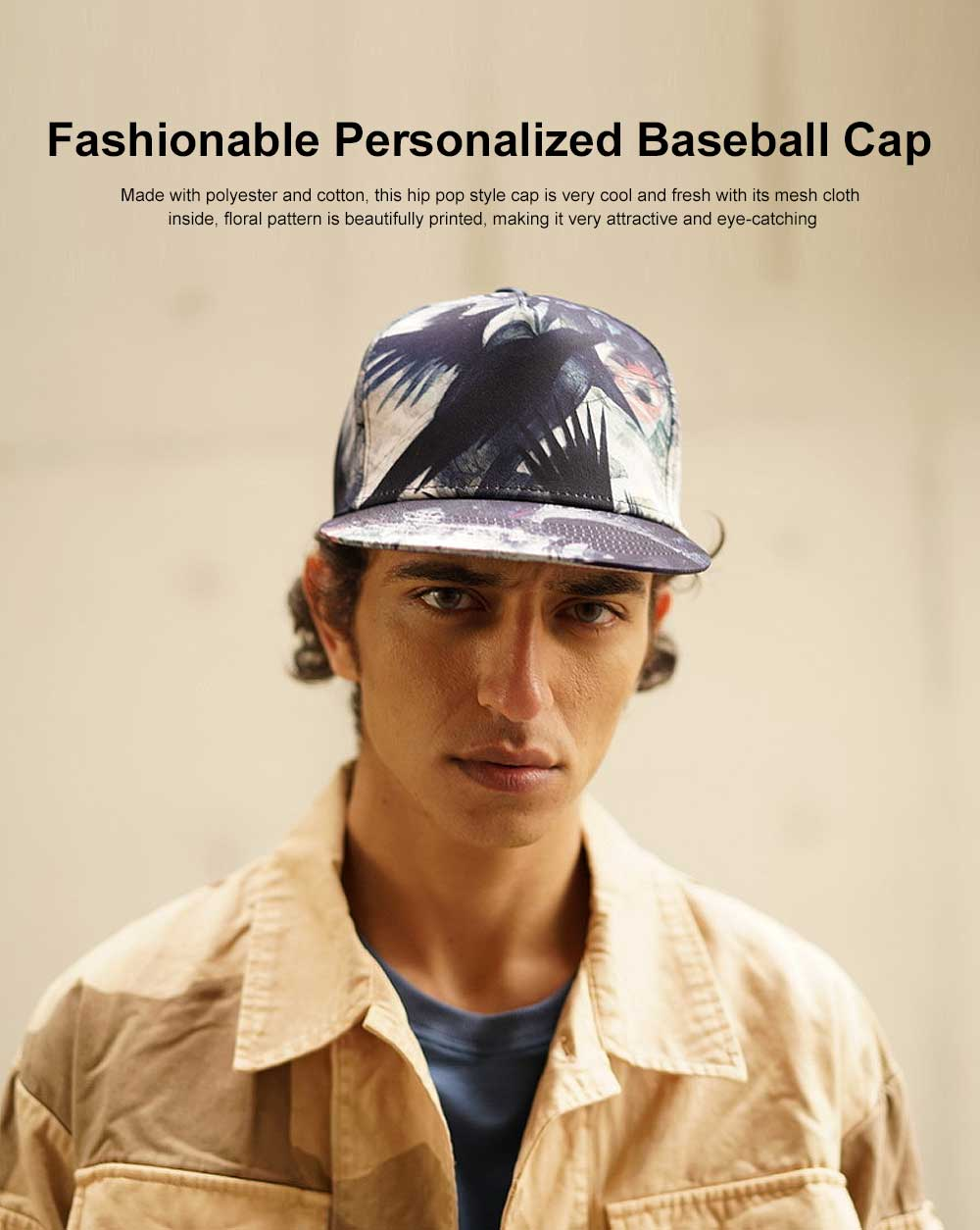 New Flat Hip Pop Style Men Cap Urban Fashionable Personalized Baseball Cap with Adjustable Strap 0