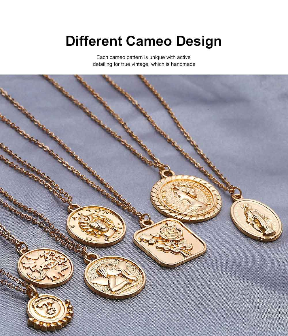 Retro Multi-elements Personalized Pendant Necklace Minimalist Cameo Pattern Neck Chain 3