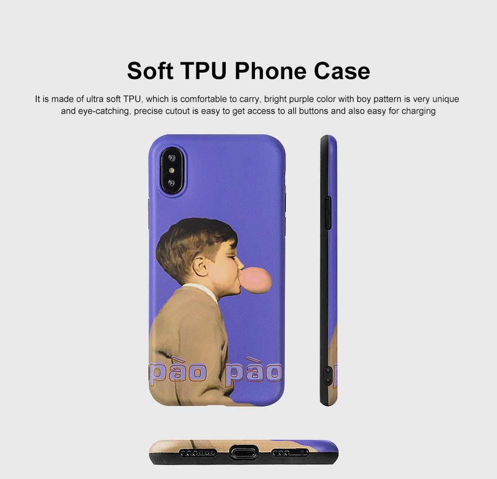 Soft TPU Purple Boy Case Shockproof Drop Resistant Protective Cute Lovely iPhone Case 9