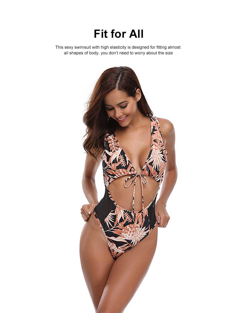 Sexy Women One-piece Swimsuit Padded Vintage Floral Bikini Swimming Bathing Wear 1