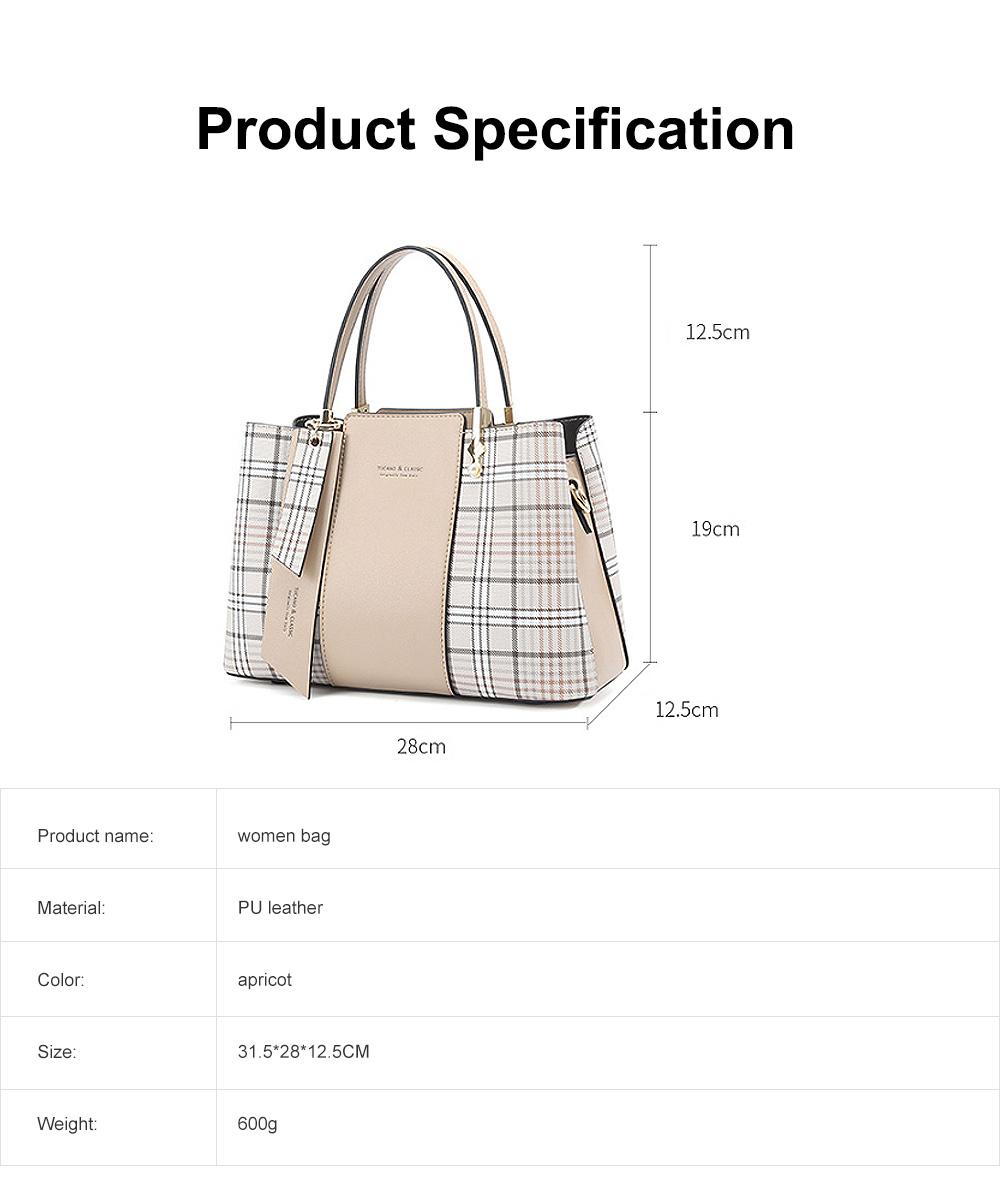 New Women Elegant Handbag Stylish Color Checkered Cloth Joint Spacious Shoulder Bag 6