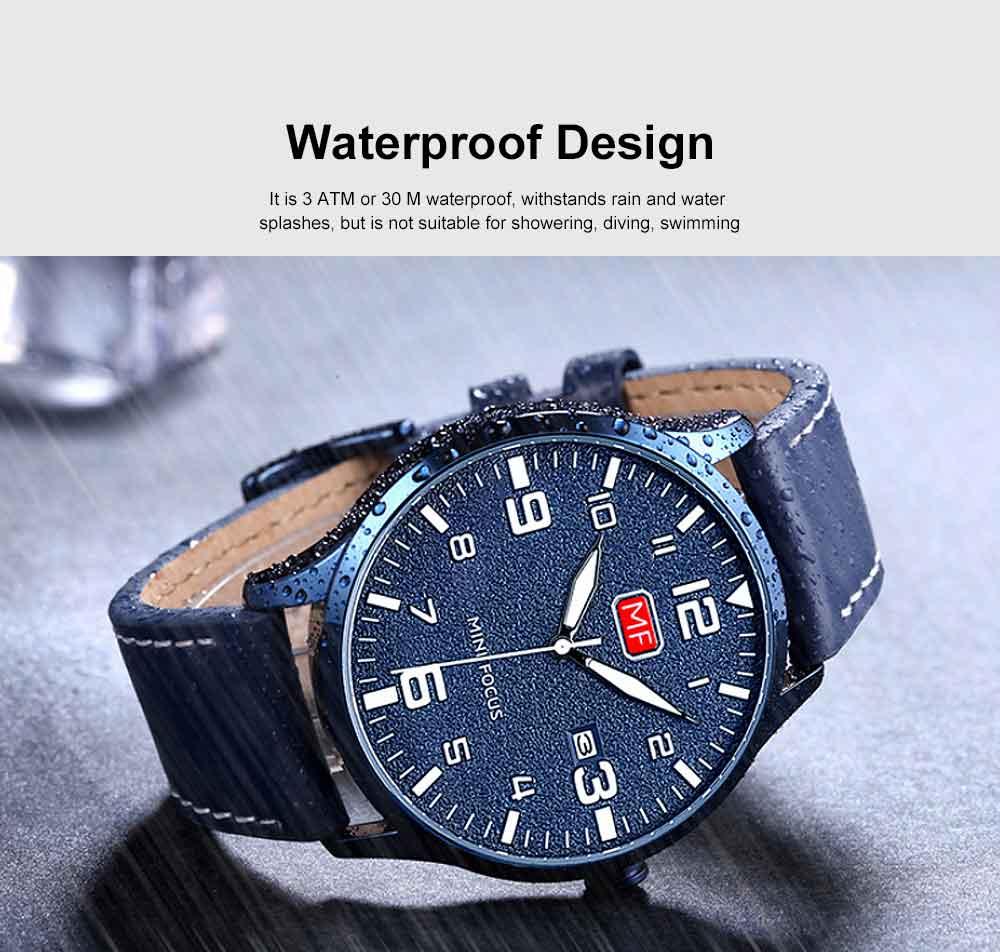 Men Super Thin Large Watch Dial Waterproof Soft Leather Quartz Watch with Calendar Date 1