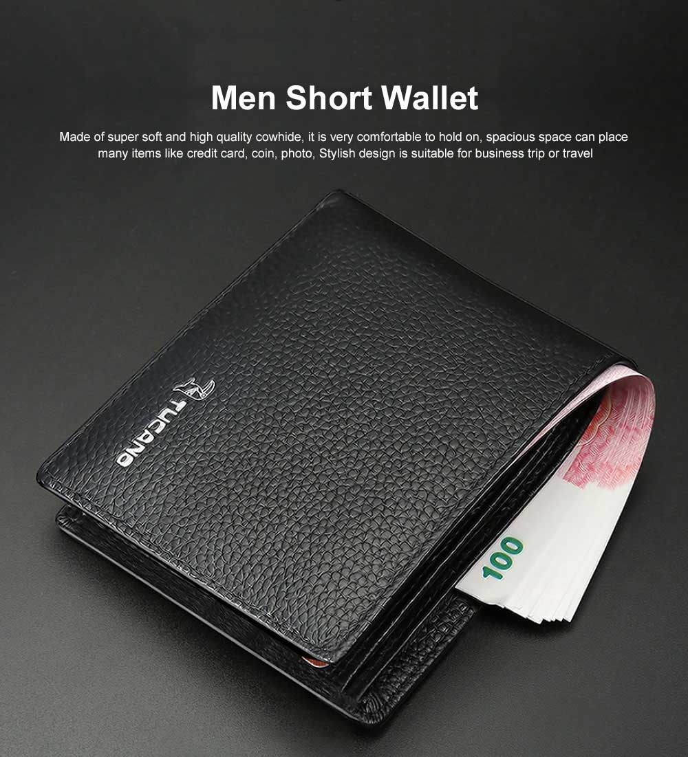 Men Short Wallet Top Leather Cross Teenager Compact Slim with Compartments Purse 0