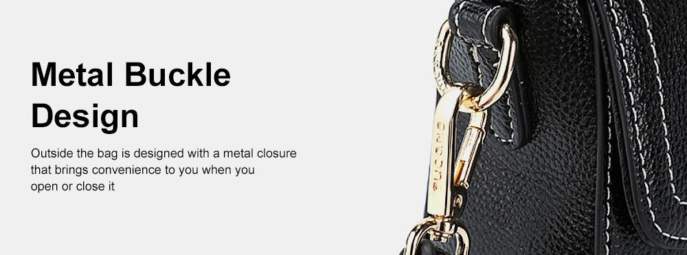 Stylish Women Shoulder Bag Compact PU Messenger Bag with Metal Buckle Spacious Storage Space 5