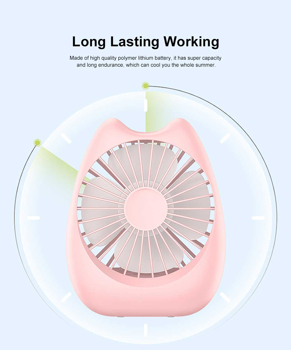 Portable Noiseless Desk Fan with Strong Wind, USB Mini Fan for Office, Dormitory, Household 2