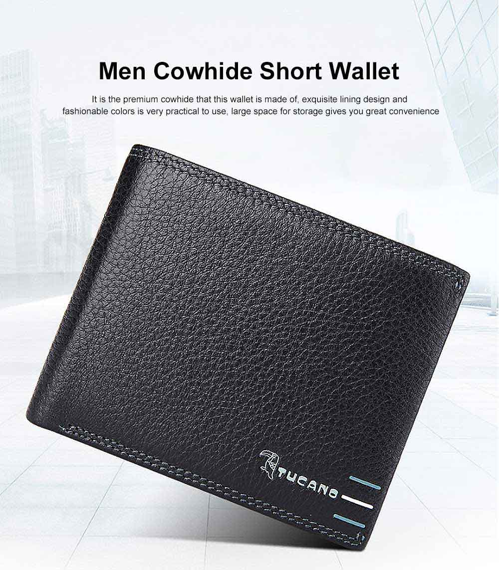 Men Cowhide Short Wallet Money Holder Casual Stylish Purse for Business Trip, Dating 0