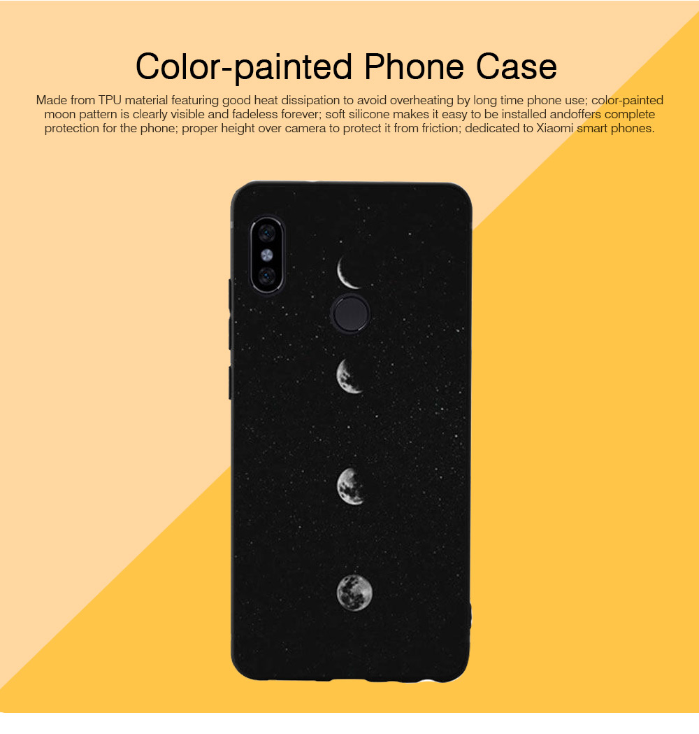 Soft Silicone Phone Case for Xiaomi 8, Color-Painted Moon Change Pattern Xiaomi 6X Phone Case 0