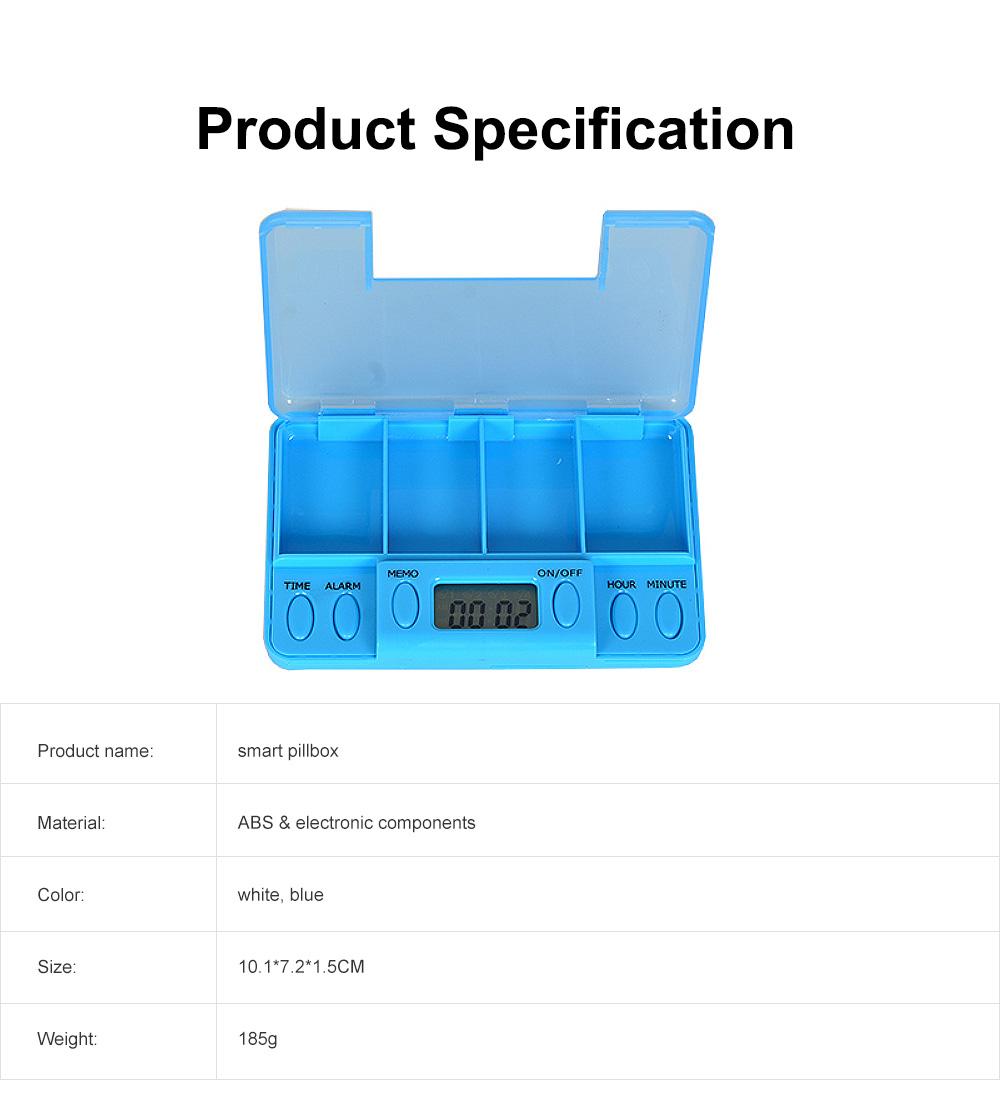 Electronic Pill Dispenser Timer Alarm Pill Box Organizer 4 Compartments Medicine Box 6