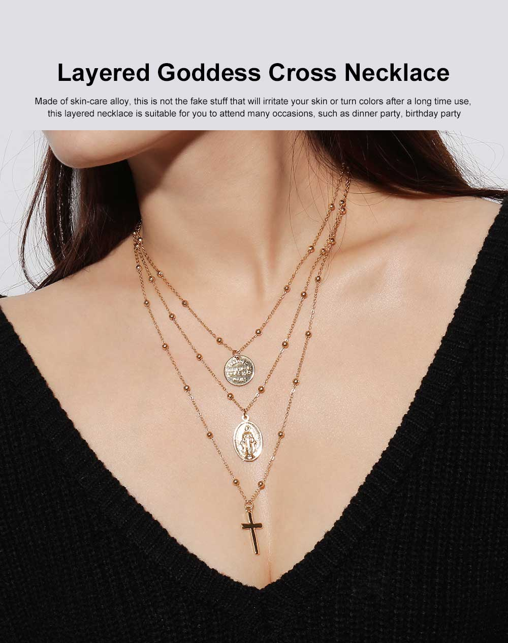 Layered Goddess Cross Necklace Retro Pendant Neck Chain for Wedding Party Jewelry 0