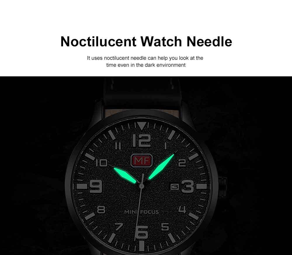 Men Super Thin Large Watch Dial Waterproof Soft Leather Quartz Watch with Calendar Date 2