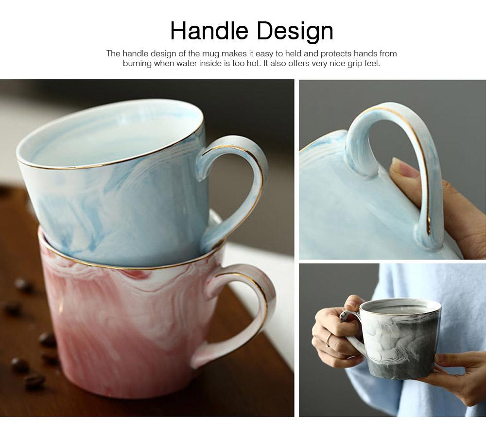 Nordic Style Colorful Ceramic Mug, Marble Grain Ceramic Mug with Lid and Handle Ember Black Coffee Cups 2