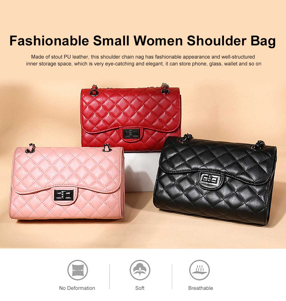 Fashionable Small Women Shoulder Bag with Rhombus Pattern Chain Casual Bag Messenger Bag 0