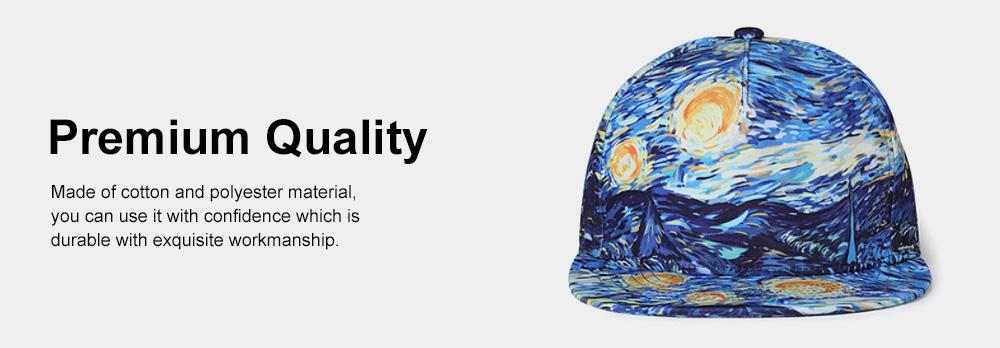Flat-brimmed Baseball Cap, Street Dance & Hip-pop Cap, 3D-printed Cap for Male & Female 3