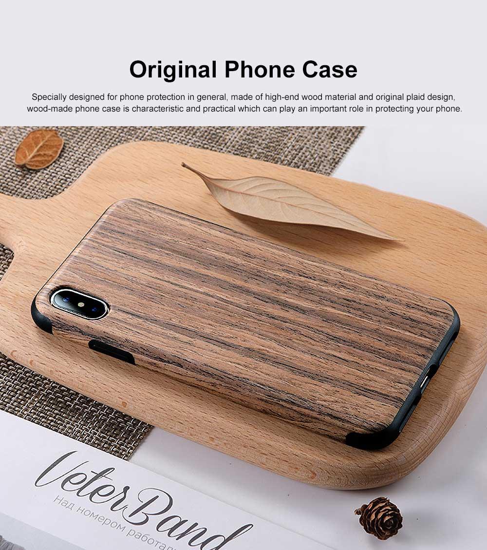 Silicone Anti-fall Phone Case, Fashion Original Phone Case, Wood-made Phone Case for iPhone XS Max, X, XS, 7 Plus, 8 Plus, 7, 8, 6, 6s, XR 0