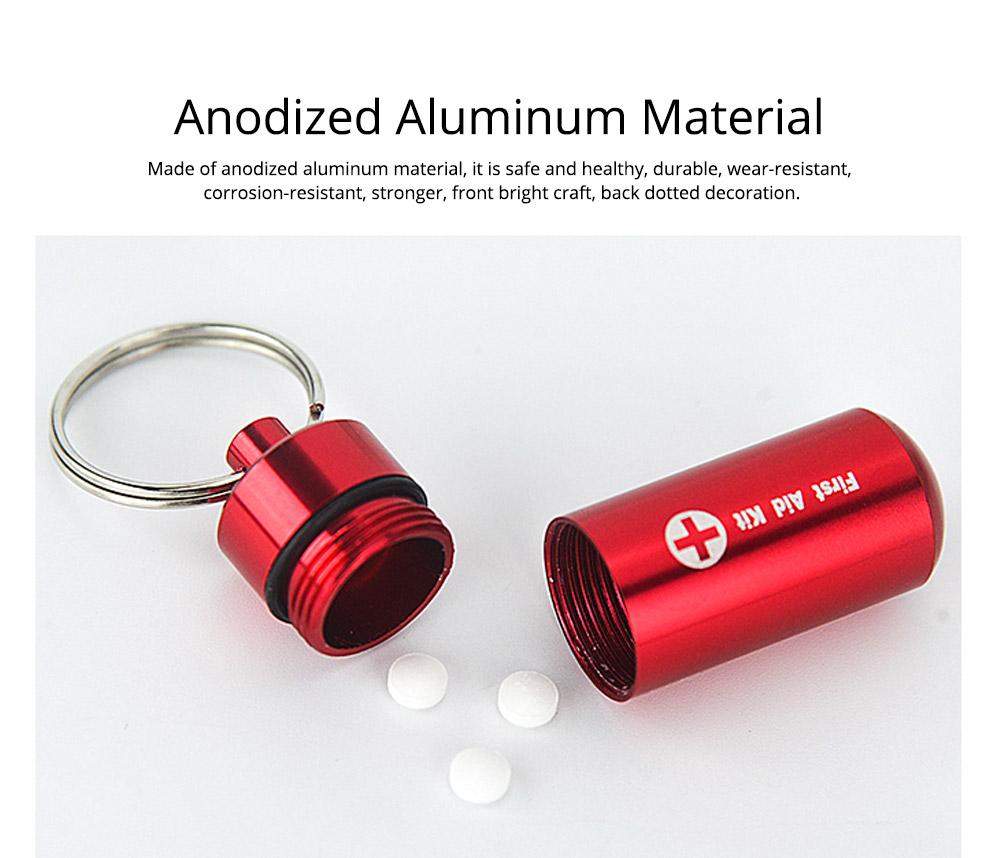 Waterproof Aluminum Pill Bottle Match Seal Storage Case Camping Capsule Seal Key-chain Bottle Holder Survival EDC Emergency Tool 1