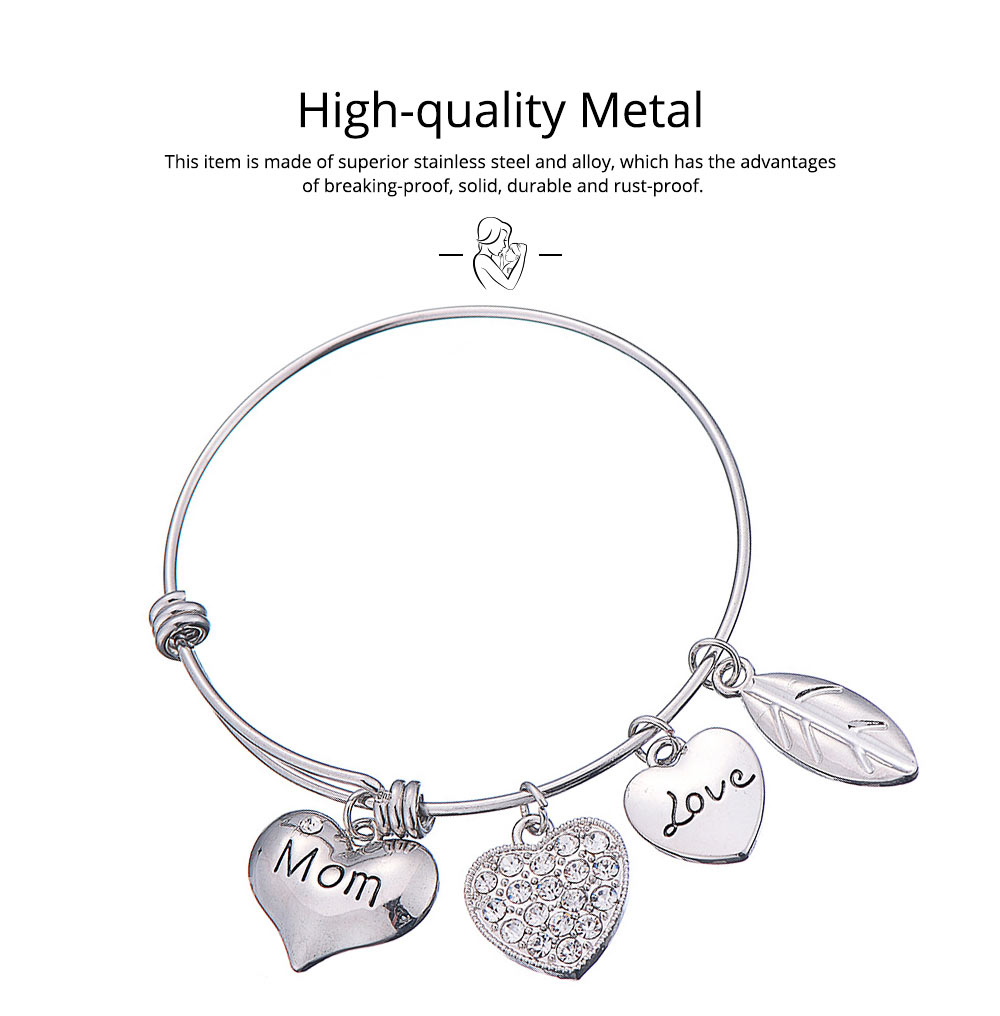 Stylish Heart Model Diamond Drilling Stainless Steel Bracelet, Mother Love Letter Electroplating Adjustable Silver Chain Bangle for Mothers 1