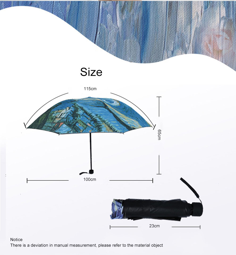 Lady's Multifunctional Outdoor Sun Umbrella with Triple Fold Sun Block of Van Gogh Painting Design 8