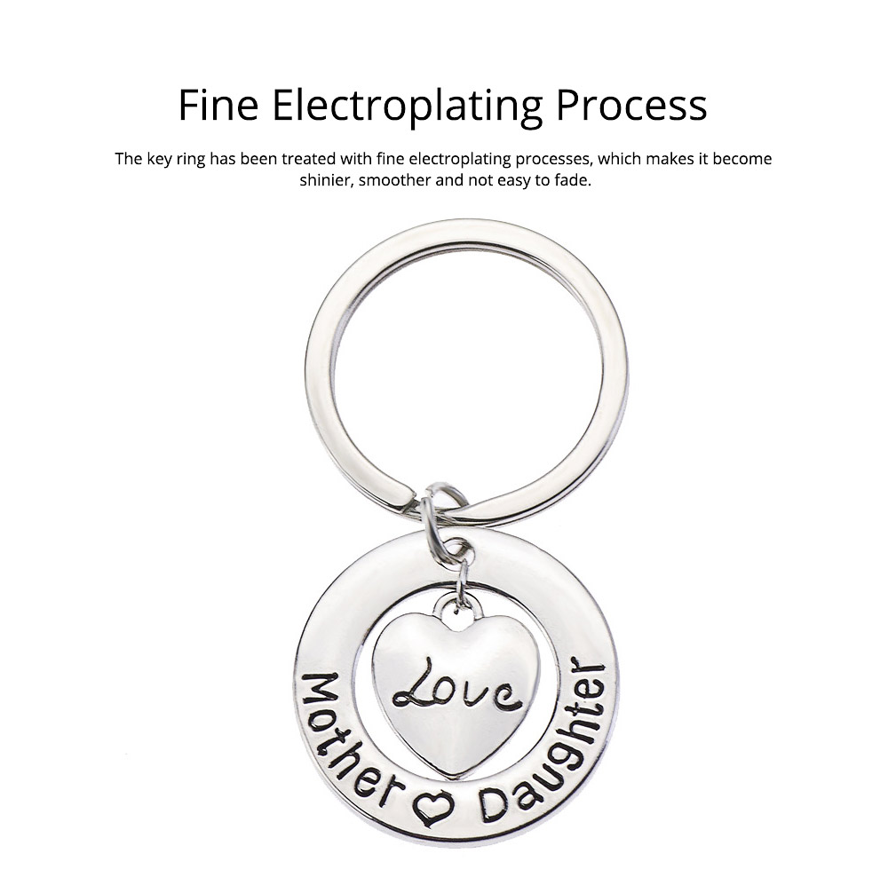 Delicate Love Lettering Alloy Stainless Steel Kay Chain for Men Women, Stylish Bag Decoration Key Accessory Gifts for Mother 2