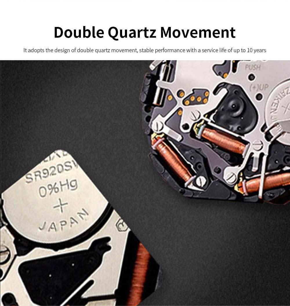 Leather Belt Men Watch, Luminous Waterproof Men Watch, Quartz Men Watch with Double Movement and Calendar 1