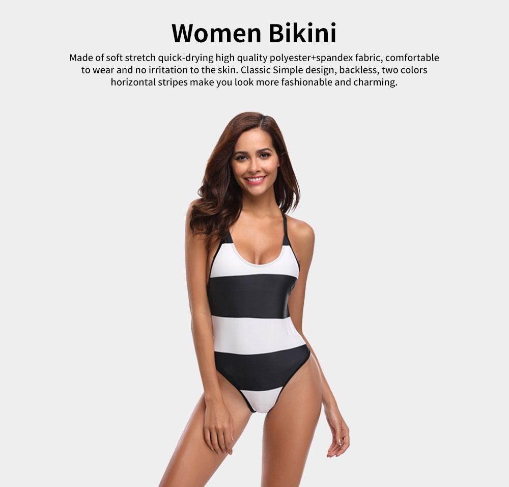 Womens Bikini V-Neck Stripe Padded Backless Soft Beachwear One Piece Swimsuits High Waist Bathing Suit 0