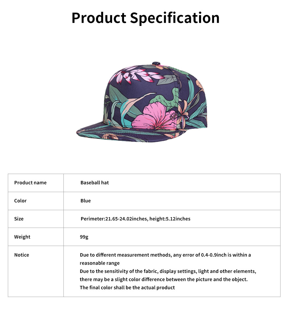 Unisex 3D Floral Print Baseball Hat Breathable Fashion Summer Hat Snap Back Hip Pop Baseball Caps for Travel Running 6