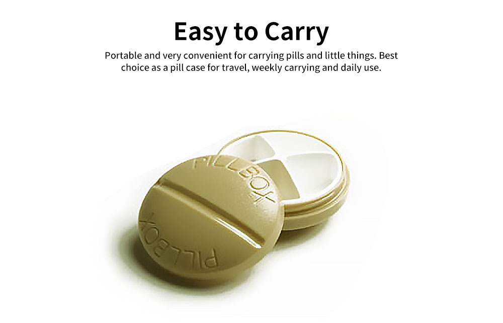 BPA-Free Screw Cap Pill Box Round Capsule Dispenser with 4 Compartments 5