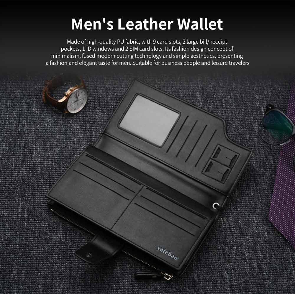 High-End Business Men's Handbags, Zipper Multifunctional Leather Clutch Wrist Bags 0