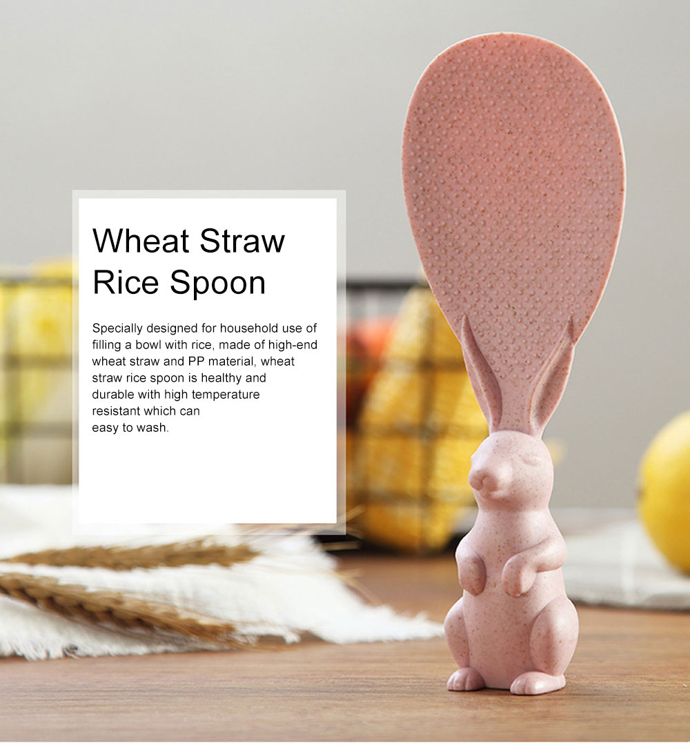 Wheat Straw Rice Spoon with Cute Bunny Design, Non-stick Solid Rice Shovel Heat Resistant Scoops for Household Use 0