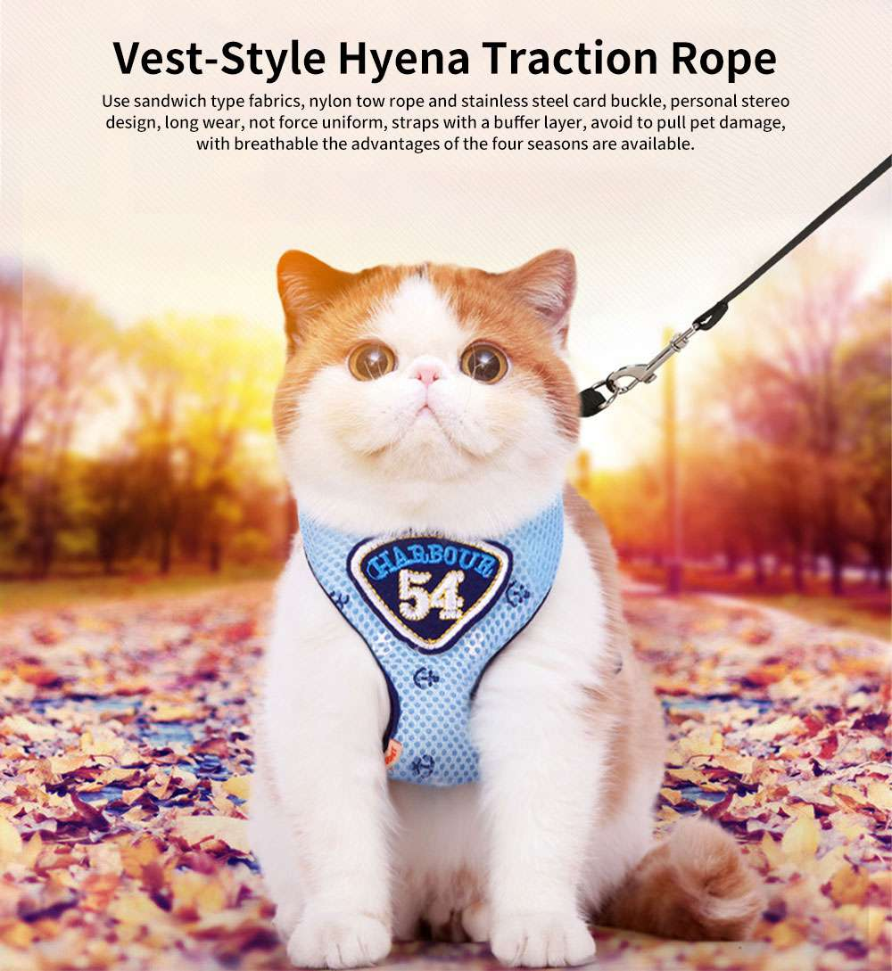 Navy Blue Mesh Pet Chest Strap, Vest-style Hyena Traction Rope, Out Chest Strap for Cats and Dogs 0