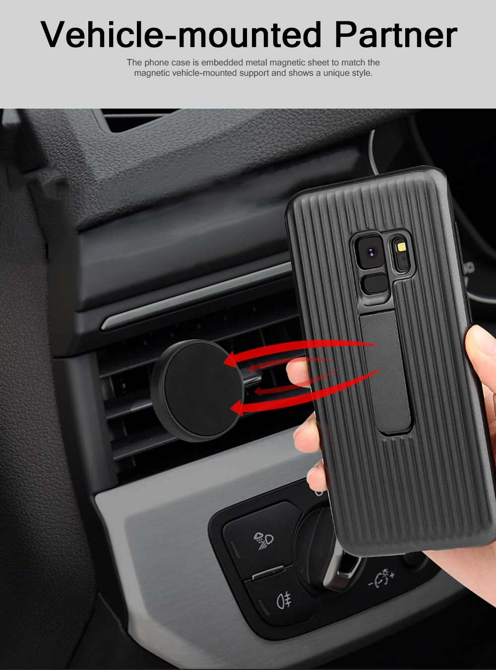 New-style Samsung Phone Case for Galaxy S9 & S9 Plus Vehicle-Mounted Protective Case Vertical Support Phone Case 7