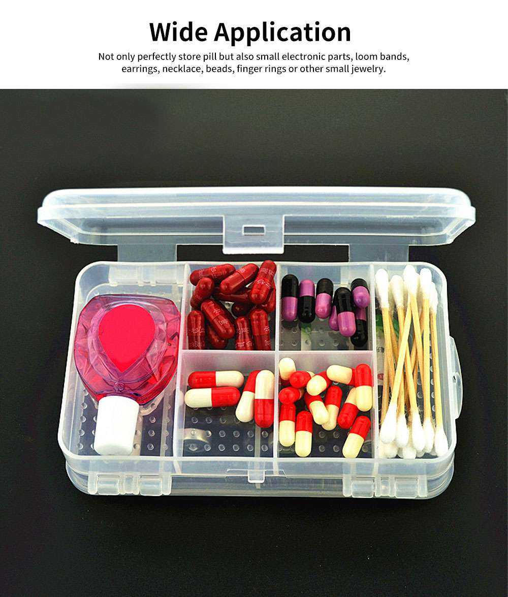 10 Slots Transparent Weekly Pill Box, Safe PP Plastic Storage Box Portable Pill Organizer Case for Travel Home Use 1