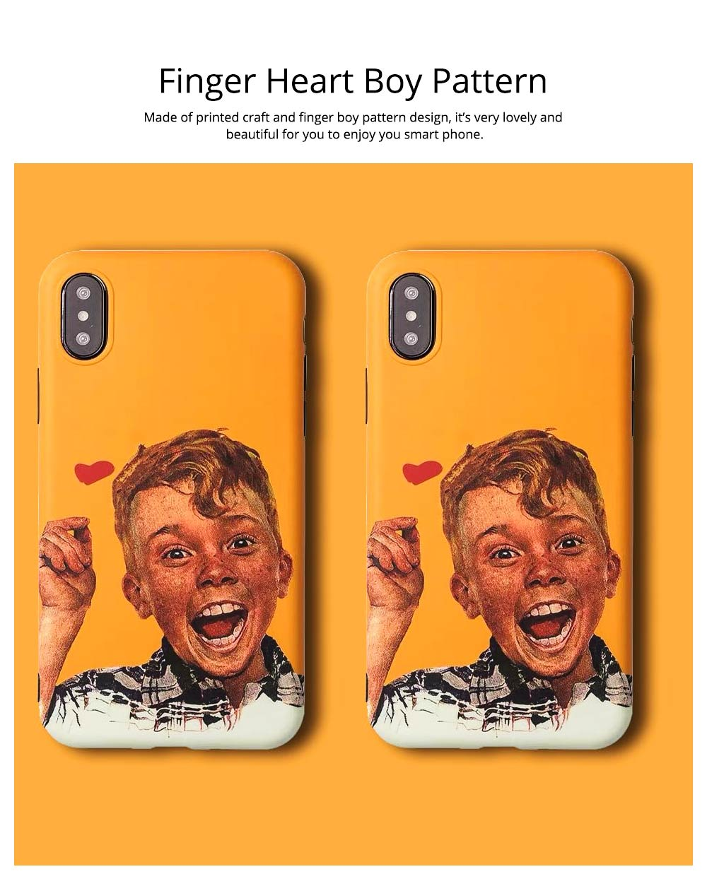 Phone Case with Finger Heart Boy Design, Cute Bumper Back Cover for iPhone 6/6s, 6p/6sp, 7p/8p, X/XS, XR Shell 8