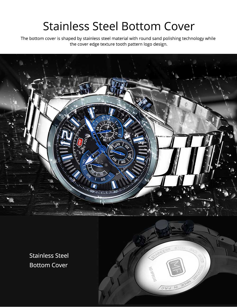 Men's Sports Watch with Luminous Mode, Water-poof Digital Watches with Metal Strap 6
