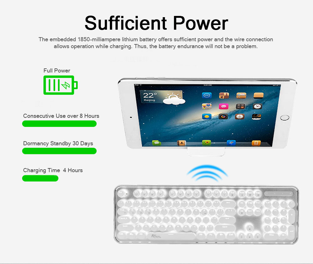Bluetooth Mechanical Keyboard for Android iPhone, Retro Punk Bluetooth Mechanical Keyboard Android Game Keyboard Light Computer Accessories 6