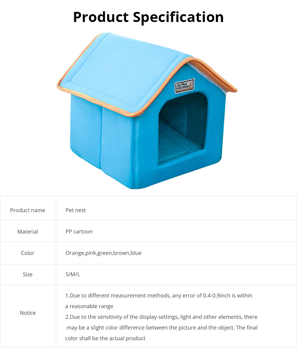 Dogs Cats Home Washable Soft Durable Detachable Pet Nest Autumn and Winter Thickened Pet House for Cat & Small Dog 6