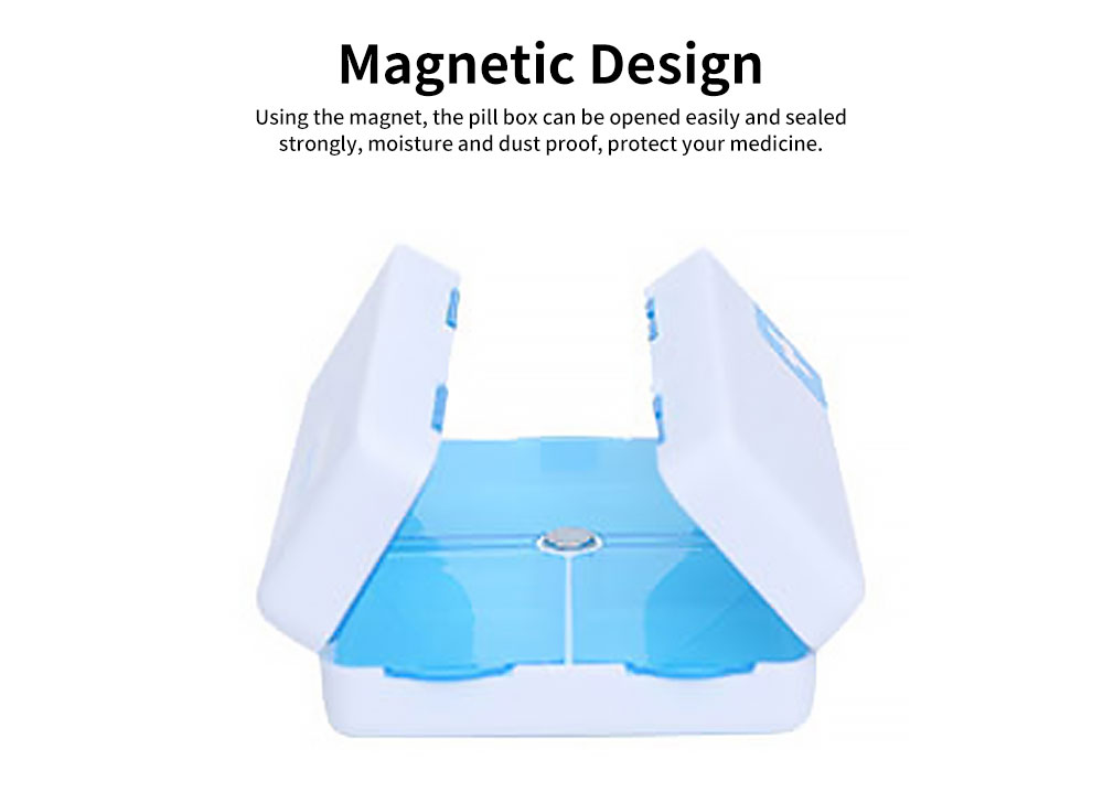 Magnetic Foldable Pill Box Case with 7 Compartments Large Capacity Portable Pill Organizer for Travel Home Use 4