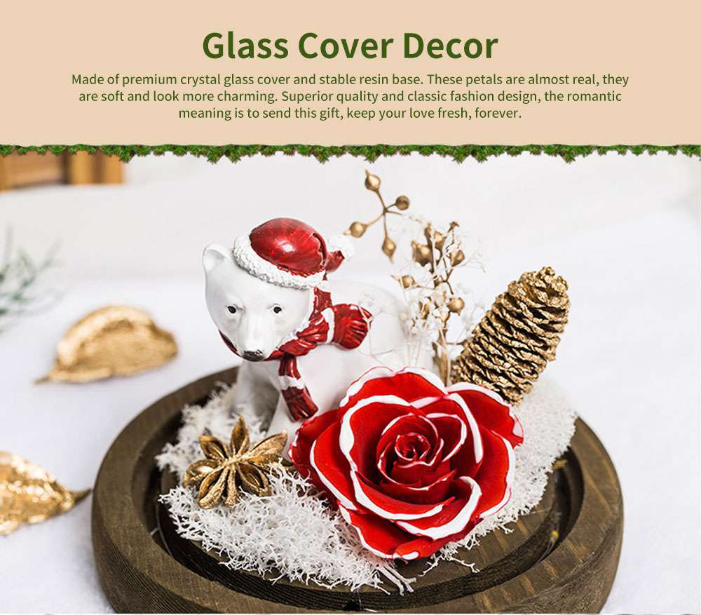 Glass Cover Decoration Preserved Flowers, Roses, Bears with lights Gifts for Wedding Anniversary Valentine's Day 0
