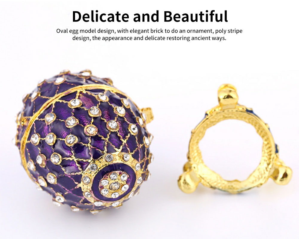 New Easter Egg Shape Jewelry Box, Zinc Alloy Oval Gift Box, Exquisite Vintage Decoration 2