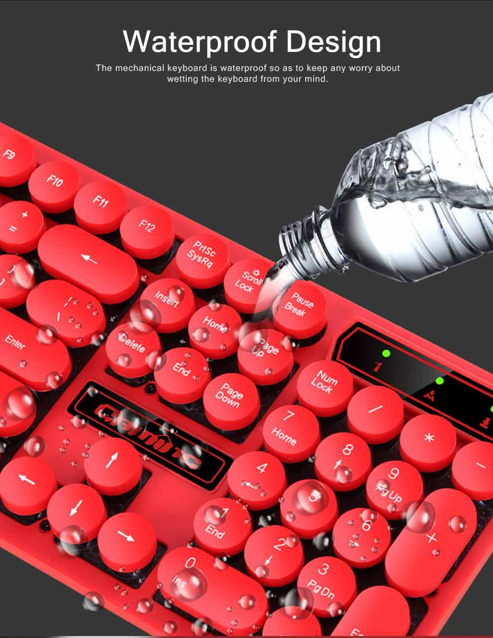 Retro Punk Mechanical Keyboard with Wire Game Keyboard Light Computer Accessories 5