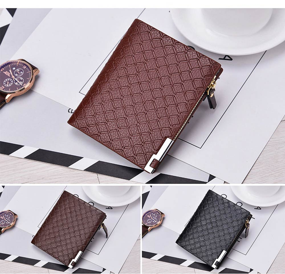 Checkered Change Purse with Two-folding & Multiple Cards Design, Business Genuine Leather Style for Men 8
