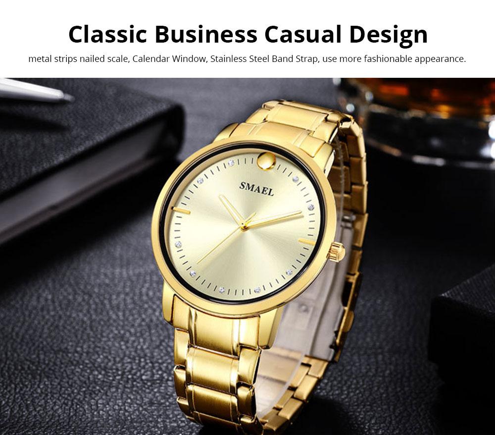 SMAEL Men's Fashion Casual Quartz Watch Outdoor Waterproof Calendar Wristwatch With Stainless Steel Strap 4