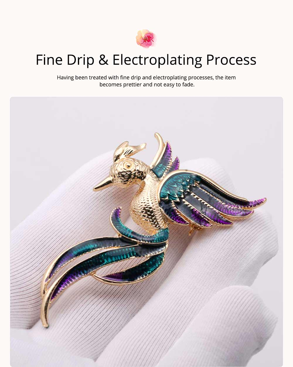 Little Dainty Phoenix Bird Enamel Painted Alloy Breastpin for Women, Colorful Dripping Scarf Clothes Decoration Accessories Animal Brooch 2