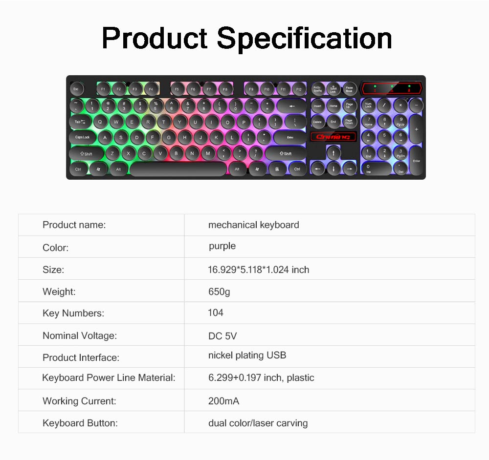 Retro Punk Mechanical Keyboard with Wire Game Keyboard Light Computer Accessories 8