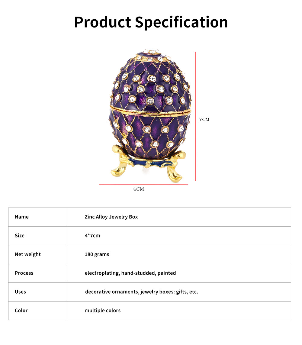 New Easter Egg Shape Jewelry Box, Zinc Alloy Oval Gift Box, Exquisite Vintage Decoration 5