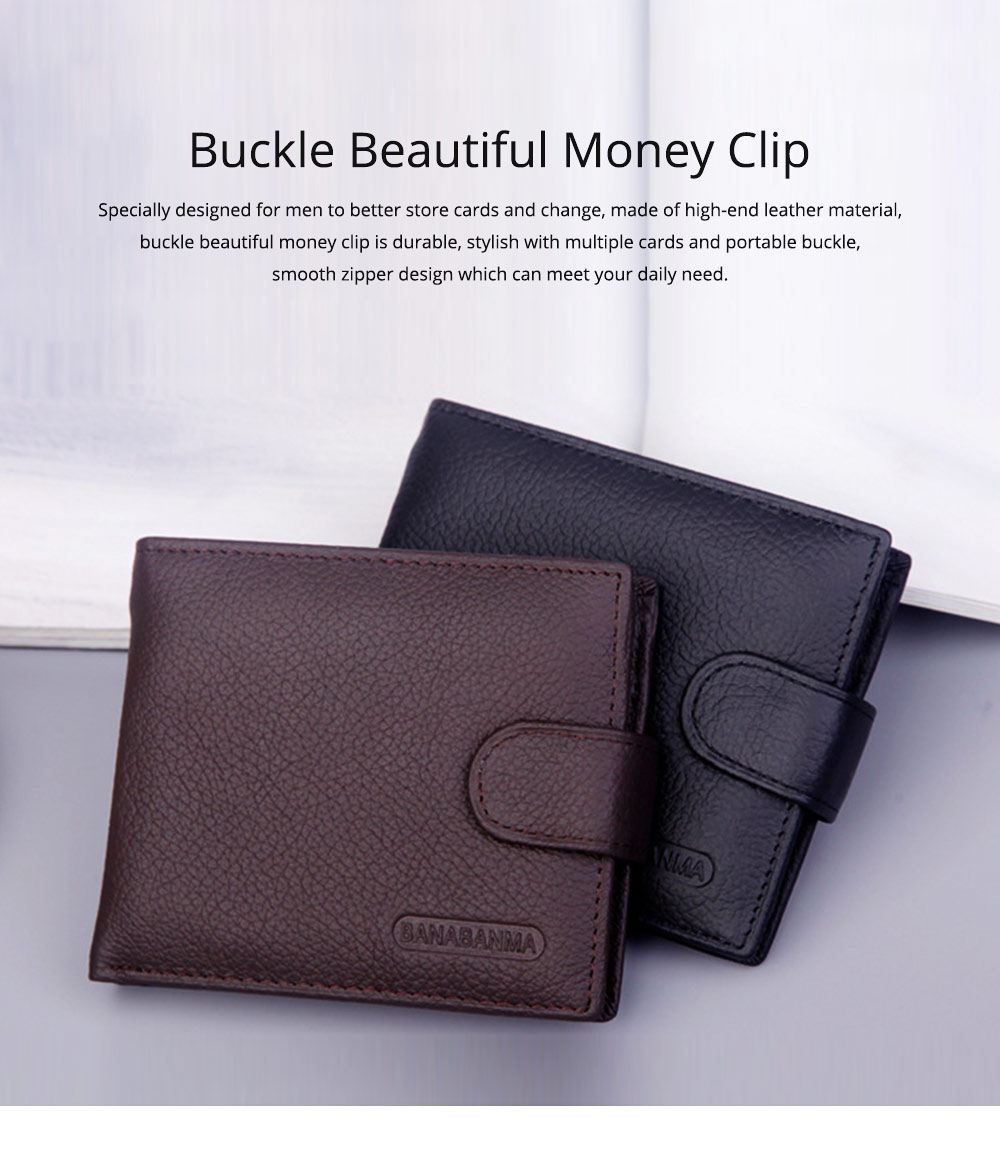 Beautiful Buckle Money Clip with Multiple Cards & Smooth Zipper & Large Capacity Design for Men 0