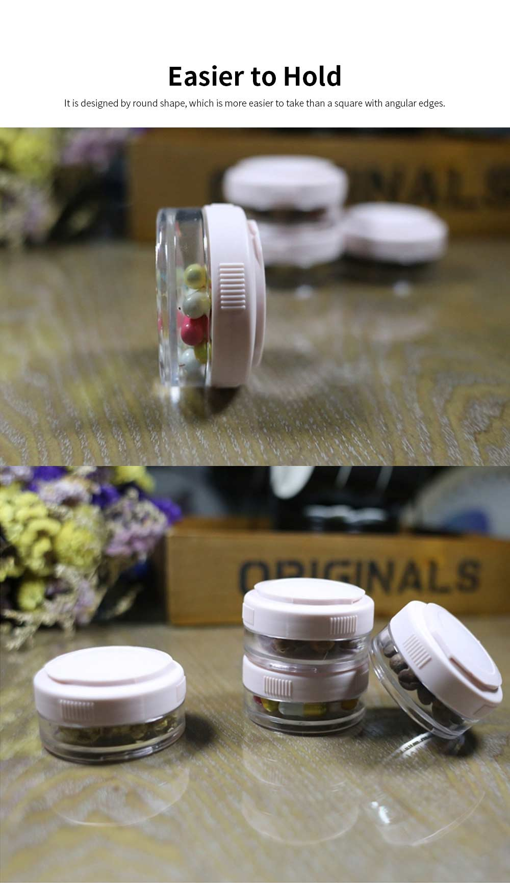 Layers Sealed Medicine Powder Box, Home Travel Essential Pill Organizer Transparent Container 4