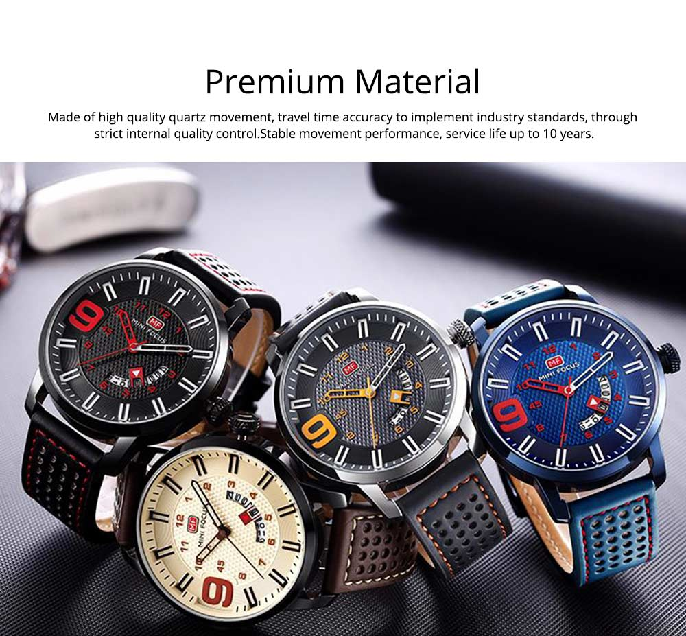 Multifunctional Smart Electronic Watch Large Dial Rotation Calendar Design, Water-poof Digital Watches with Leather Strap 1